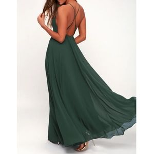 Lulu's Dark Green Mythical Kind of Love Maxi Dress
